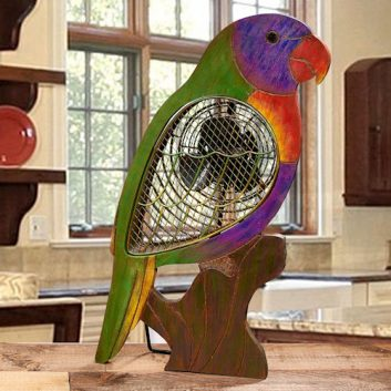 Funky Rainbow Parrot Fan