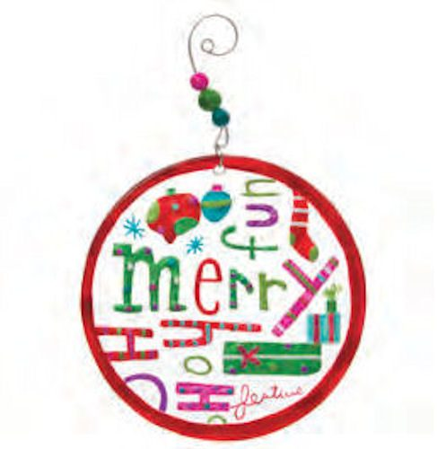 Merry Medallian Glass Christmas Ornament