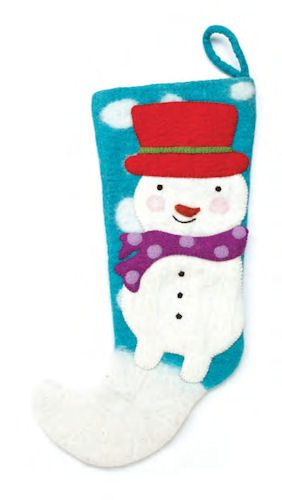 Blue Felt Snowman Christmas Stocking