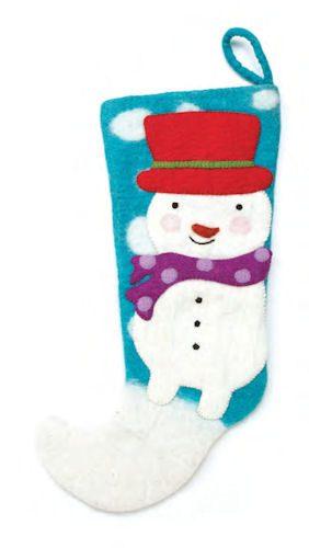 Blue Felt Snowman Christmas Stocking