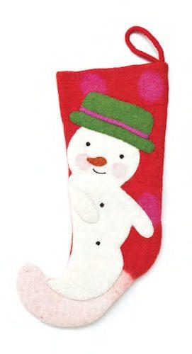 Red Felt Snowman Christmas Stocking