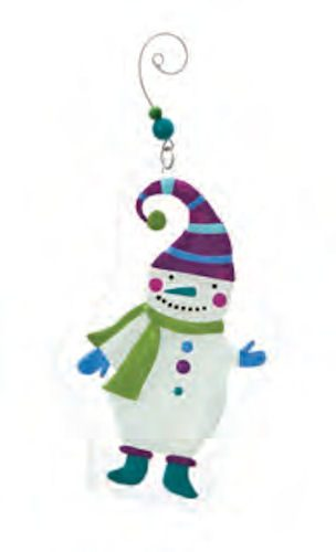Glass Snowman Wearing Striped Cap Ornament