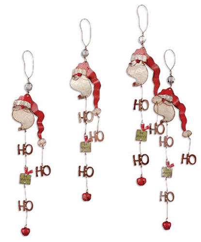 Ho Ho Ho Metal Santa Ornament