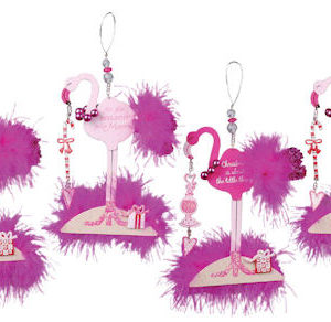 Pink Fancy Flamingo Christmas Ornament