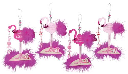 1099 pink fancy flamingo christmas ornament
