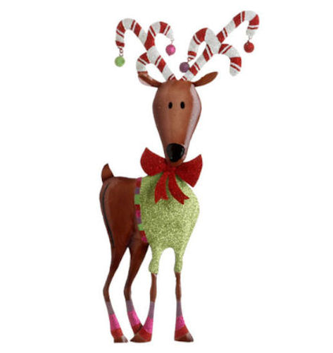 Large metal reindeer ornament happy holidayware