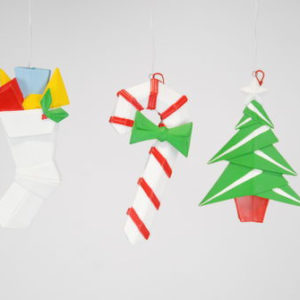 Stocking and Candy Cane and Christmas Tree Origami Ornaments