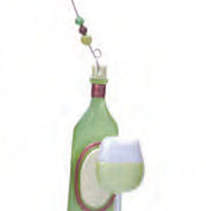 White Wine Glass and Bottle Ornament
