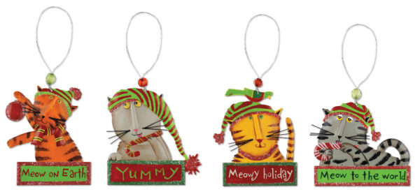 Meowy Cat Christmas Ornaments