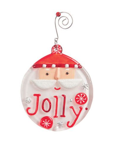 Glass Fusion Jolly Santa Christmas Ornament