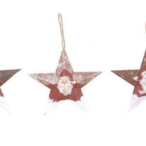 Santa Metal Star Ornament