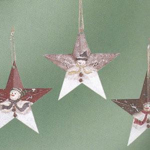 Snowman Metal Star Ornament