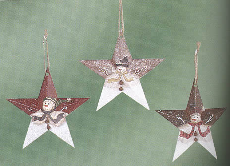 Snowman Metal Star Ornament
