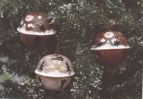 Painted Snowman Bell Ornament