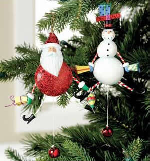 Jumping Jack Snowman Ornament