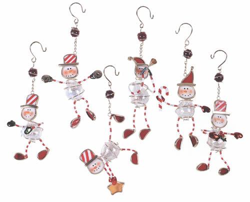 Peppermint Snowman Ornament