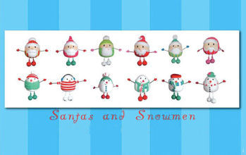 Santa & Snowmen Jingle Bell Ornaments