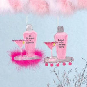 Hot Pink Martini Glass & Shaker Christmas Ornament