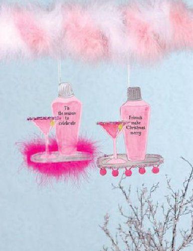 Hot Pink Martini Glass & Shaker Christmas Ornament