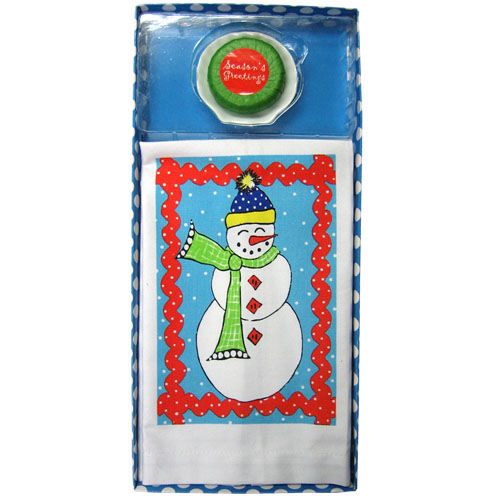 Snowman Towel with Soap Set
