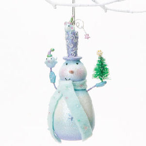 Snowman with Purple Top Hat Ornament