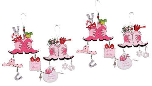 Pink Cowboy Boots Ornament