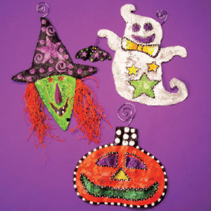 Witch, Ghost, and Pumpkin Ornaments