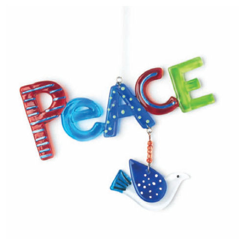 Glass Fusion Peace Ornament