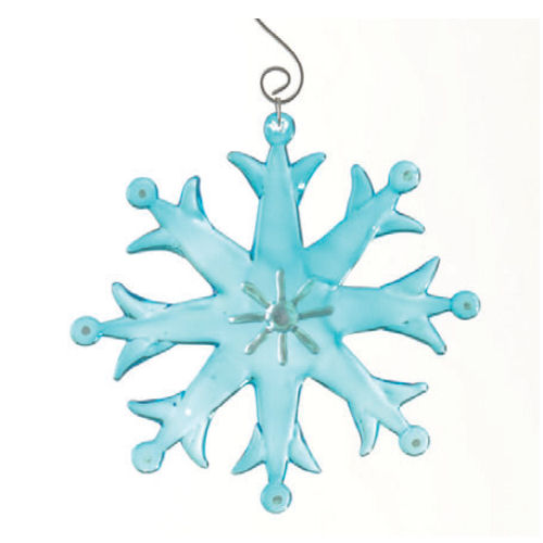 Glass Fusion Snowflake Ornament-Blue