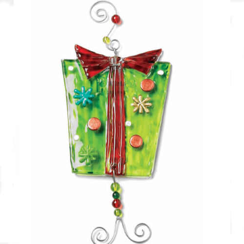 Green Gift Box Glass Ornament