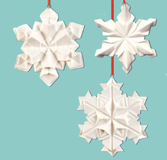 Origami Christmas Ornaments.Snowflake Origami Christmas Ornaments