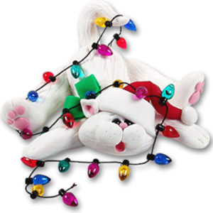 Christmas Cat with Lights Ornament