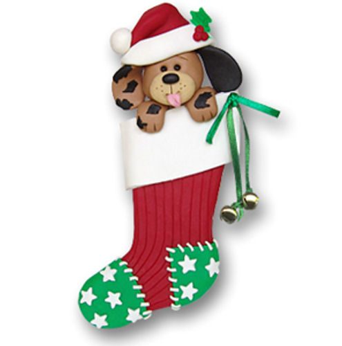 Dog In Stocking Christmas Ornament