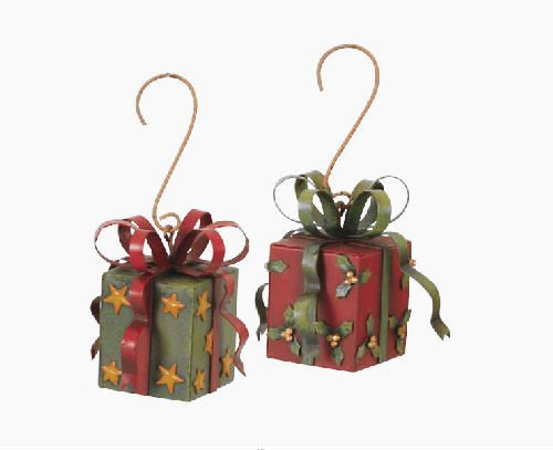 Metal present christmas ornaments happy holidayware