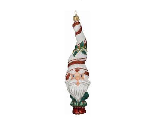 Peppermint Twist Santa Ornament