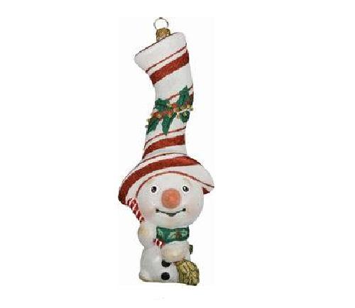 Peppermint Twist Snowman Ornament