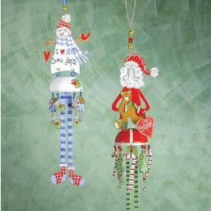 Santa and Snowman Bella Ornament
