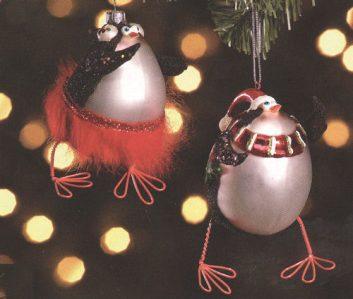 Penguin Glass Christmas Ornaments