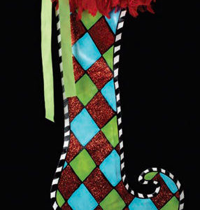 Large Harlequin Stocking Decoration