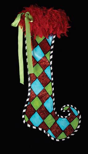 Large Harlequin Stocking Decoration