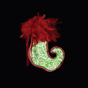 Green Swirl Stocking Christmas Ornament
