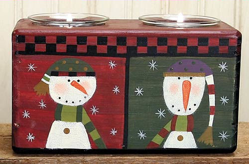 Double Snowman Candle Holder