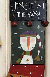 Snowman Stocking Sign Christmas Decoration