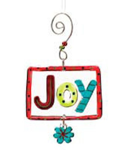 Joy Glass Christmas Ornament