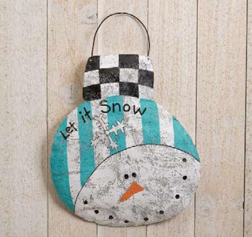 Snowman Disc Christmas Ornament