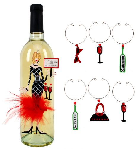 Wine, Wine, Wine Friend Ornament and Wine Charms