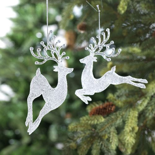 Clear Leaping Deer Ornaments