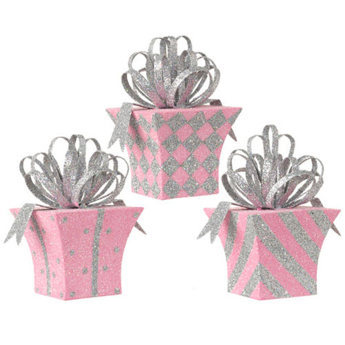 Pink Metal Present Ornaments