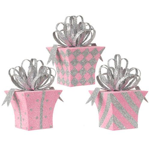 Pink Metal Present Ornaments