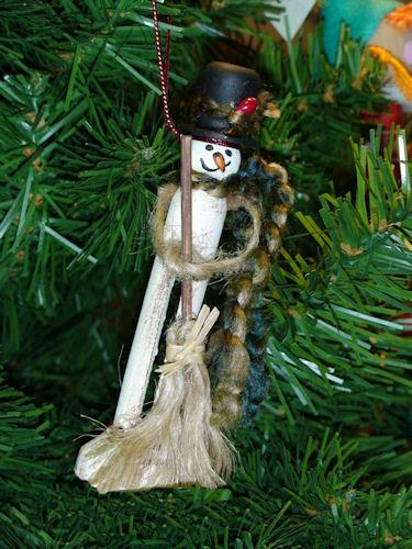 Handmade Clothespin Snowman Christmas Ornament